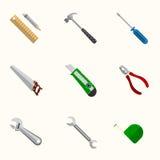 Ícones lisos do vetor das ferramentas ajustados Fotografia de Stock