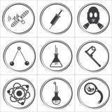 9 ícones lisos do vetor do círculo da ciência Fotografia de Stock Royalty Free