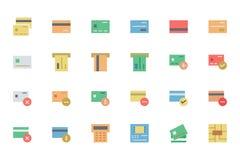 Ícones lisos 1 do vetor do pagamento do cartão Fotografia de Stock