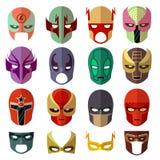 Ícones lisos do vetor dos caráteres da máscara do herói Imagens de Stock Royalty Free