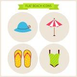Ícones lisos do Web site da praia do verão ajustados Imagens de Stock Royalty Free