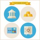 Ícones lisos do Web site do banco ajustados Fotos de Stock
