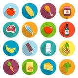 Ícones lisos dos alimentos do supermercado ajustados ilustração do vetor