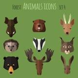 Ícones lisos dos animais da floresta Jogo 2 Imagem de Stock Royalty Free