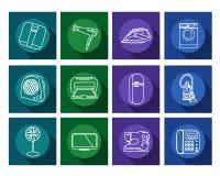 Ícones lisos dos aparelhos eletrodomésticos ajustados Imagem de Stock Royalty Free
