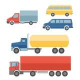 Ícones lisos dos caminhões ajustados Fotografia de Stock Royalty Free