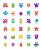 Ícones lisos dos caráteres do monstro ilustração stock