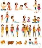 Ícones lisos dos caráteres dos povos do turista do vetor ajustados ilustração do vetor