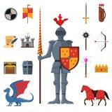 Ícones lisos dos cavaleiros medievais do reino ajustados ilustração stock