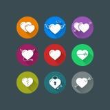 Ícones lisos dos corações do vetor Fotografia de Stock Royalty Free