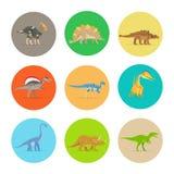 Ícones lisos dos dinossauros Fotos de Stock