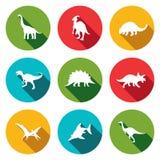Ícones lisos dos dinossauros ajustados Imagens de Stock
