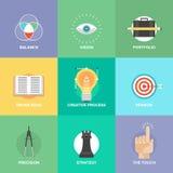 Ícones lisos dos elementos criativos do projeto Fotos de Stock Royalty Free