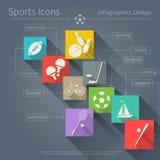 Ícones lisos dos esportes ajustados Imagens de Stock