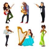 Ícones lisos dos músicos ajustados ilustração stock