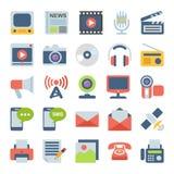 Ícones lisos dos meios e da comunicação Fotos de Stock