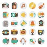 Ícones lisos dos multimédios ajustados Foto de Stock
