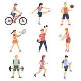 Ícones lisos dos povos do esporte ajustados Imagem de Stock Royalty Free