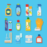 Ícones lisos dos produtos da higiene e de limpeza Foto de Stock