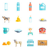 Ícones lisos dos produtos láteos do leite ajustados Fotos de Stock