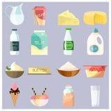Ícones lisos dos produtos láteos do vetor ajustados ilustração stock