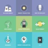 Ícones lisos dos recursos de energias mundiais ajustados Foto de Stock Royalty Free