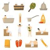 Ícones lisos dos termas da sauna do banho ajustados Fotos de Stock Royalty Free
