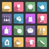 Ícones lisos dos utensílios da cozinha Imagem de Stock Royalty Free