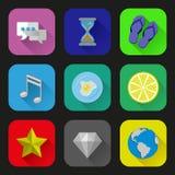 Ícones lisos e pictograma ajustados Fotografia de Stock Royalty Free