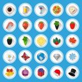 Ícones lisos e pictograma ajustados Fotos de Stock