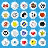 Ícones lisos e pictograma ajustados Imagem de Stock Royalty Free