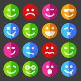 Ícones lisos e redondos da emoção do vetor com smiley Fotografia de Stock Royalty Free