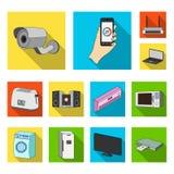 Ícones lisos espertos dos aparelhos eletrodomésticos na coleção do grupo para o projeto Web moderna do estoque do símbolo do veto Fotografia de Stock Royalty Free