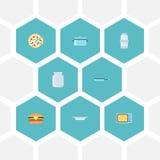 Ícones lisos fast food, especiaria, caçarola e outros elementos do vetor O grupo de cozinhar símbolos lisos dos ícones igualmente Foto de Stock