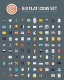 Ícones lisos grandes da Web e do negócio ajustados Imagens de Stock Royalty Free