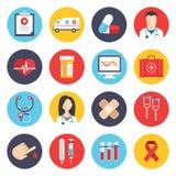 Ícones lisos médicos ajustados Imagens de Stock Royalty Free