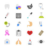 Ícones lisos médicos e dos cuidados médicos da cor Fotos de Stock