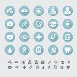 Ícones lisos médicos vetor ajustado Imagens de Stock Royalty Free