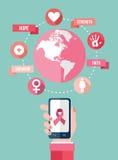 Ícones lisos móveis do app do câncer da mama infographic Imagem de Stock