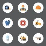 Ícones lisos mitene, medidor do rolo, trator e outros elementos do vetor O grupo de símbolos lisos dos ícones da construção igual Fotografia de Stock