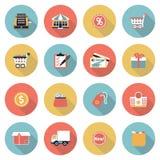 Ícones lisos modernos de compra da cor Fotos de Stock Royalty Free