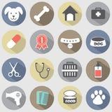 Ícones lisos modernos do cão do projeto ajustados Imagens de Stock