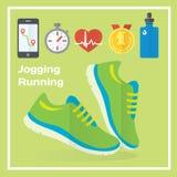 Ícones lisos movimentando-se e de corrida do conceito do gym, alimento saudável, medidor Imagem de Stock Royalty Free