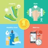 Ícones lisos movimentando-se e de corrida do conceito do vencedor do gym, alimento saudável, medidor Foto de Stock