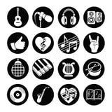 Ícones lisos musicais ajustados da Web do vetor Preto e branco com sombra longa para o Internet, apps móveis, projeto de relação Fotografia de Stock