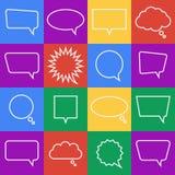Ícones lisos na moda com bolhas do discurso jogo Vetor Fotos de Stock