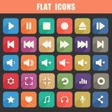 Ícones lisos na moda de Media Player ajustados. Multimídia Fotografia de Stock