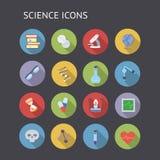Ícones lisos para a educação e a ciência Fotografia de Stock Royalty Free