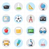 Ícones lisos para a ilustração do vetor dos ícones da educação e dos ícones da escola Imagem de Stock
