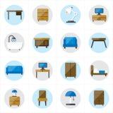 Ícones lisos para a ilustração do vetor dos ícones da mobília Imagens de Stock